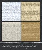 Naadloos patroon: De inzameling van handschriften. Stock Afbeeldingen