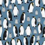 Naadloos patroon De keizerpinguïnen en hun kuikens in verschillend stellen op een blauwe achtergrond vector illustratie