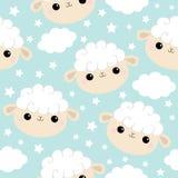 Naadloos patroon De schapen zien hoofdpictogram onder ogen Wolkenster in de hemel Leuk grappig glimlachend de babykarakter van be royalty-vrije illustratie