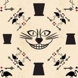 Naadloos patroon in de stijl van Alice in Sprookjesland Vectorachtergrond met de kat van Cheshire Royalty-vrije Stock Fotografie