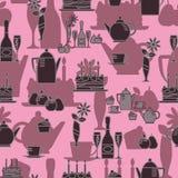 Naadloos patroon in de stijl van een feestelijke lijst stock illustratie
