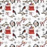 Naadloos patroon De winter grappig patroon in vector vector illustratie
