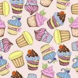 Naadloos patroon Decoratieve zoete cakes Stock Foto's