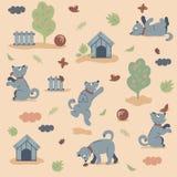 Naadloos patroon die van grappige honden in de tuin op donkere achtergrond spelen stock foto
