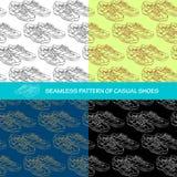 Naadloos patroon een paar toevallige schoenen Royalty-vrije Stock Afbeeldingen