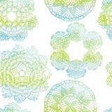 Naadloos patroon Elegante kanten waterverfdoilies Royalty-vrije Stock Afbeeldingen