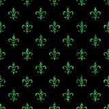 Naadloos patroon fleur-DE-lis Het malplaatje van de Olsstijl Bloemen klassieke textuur Koninklijke de lelie retro achtergrond van Stock Afbeelding