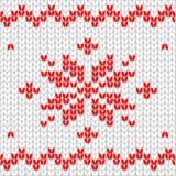 Naadloos patroon Gebreide stof Ornamentsneeuwvlok wol De winterdecor wit Vector royalty-vrije illustratie