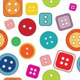 Naadloos patroon: gekleurde knopen op een witte achtergrond Royalty-vrije Stock Afbeeldingen