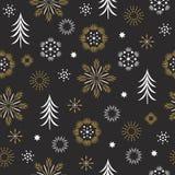 Naadloos Patroon, gestileerde sneeuwvlokken stock afbeeldingen