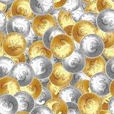Naadloos patroon Gouden en zilveren muntstuk, geld, die in willekeurige orde leggen stock illustratie