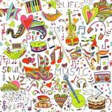 Naadloos patroon Hand getrokken kleurrijke musical Stock Foto