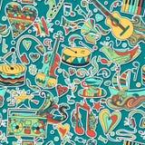 Naadloos patroon Hand getrokken kleurrijke musical Stock Afbeeldingen