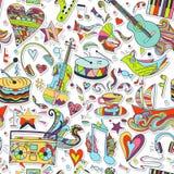 Naadloos patroon Hand getrokken kleurrijke musical Royalty-vrije Stock Foto's