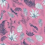 Naadloos patroon Hand getrokken vectorillustraties - botanisch Forest Autumn, eikels, denneappels, esdoorn gaat weg Ontwerp voor  stock foto's