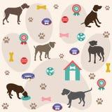 Naadloos patroon, hondpictogrammen, behang Stock Foto