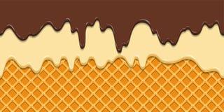 Naadloos patroon Huidige suikerglazuur en chocolade op de achtergrond van de wafeltextuur, wafelkegel met roomijs beeldverhaal Royalty-vrije Stock Afbeeldingen