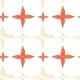 Naadloos patroon in Indische stijl Abstracte sterren in rode kleuren met gouden contouren op een witte achtergrond stock illustratie