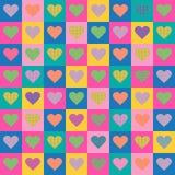 Naadloos patroon Kleurenharten in kleurrijke vierkanten Helder en vrolijk ontwerp Stock Foto