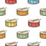 Naadloos patroon Kleurentrommel met Trommelstokken stock illustratie