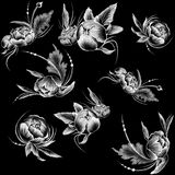 Naadloos patroon Krijt getrokken stijl witte bloemen op de vlakke zwarte achtergrond royalty-vrije stock afbeeldingen