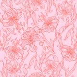 Naadloos patroon Lelies op roze achtergrond Vector vector illustratie