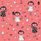 Naadloos patroon leuk meisje met ballon, roomijs, aardbeien en andere snoepjes op roze achtergrond Royalty-vrije Stock Foto's