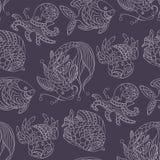 Naadloos patroon in mariene thema's met wilde overzeese dieren en vissen stock illustratie