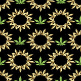 Naadloos patroon marihuana Stock Afbeeldingen