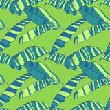 Naadloos patroon met abstracte banaanbladeren Tropische heldere achtergrond Stock Foto's