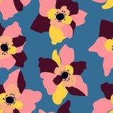 Naadloos patroon met abstracte bloemen royalty-vrije illustratie
