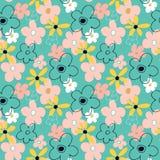 Naadloos patroon met abstracte bloemen Heldere bloemenachtergrond met een blauwe achtergrond stock illustratie