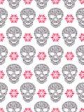 Naadloos patroon met abstracte bloemenschedels Royalty-vrije Stock Afbeelding