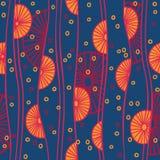 Naadloos patroon met abstracte cirkels en lijnen stock afbeeldingen