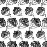 Naadloos patroon met abstracte grote kwallen Vector isoleer Rebecca 36 stock illustratie