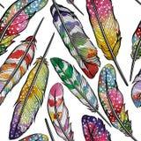 Naadloos patroon met abstracte kleurrijke veren Stock Foto