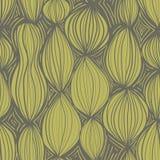 Naadloos patroon met abstracte ronde elementen in gele kleur op grijze achtergrond Stock Afbeeldingen