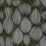 Naadloos patroon met abstracte ronde elementen in grijze kleur op zwarte achtergrond Royalty-vrije Stock Foto