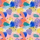 Naadloos patroon met abstracte waterverfvlekken, tropische bladeren Royalty-vrije Stock Foto