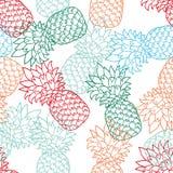 Naadloos Patroon met Ananassenkleur, contour vector illustratie