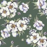 Naadloos patroon met anemonen De hand trekt waterverfillustratie Royalty-vrije Stock Fotografie