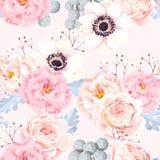 Naadloos patroon met anemonen en rozen stock illustratie