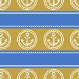 Naadloos patroon met ankers Aan de gang zijnde achtergronden van marien thema Stock Foto