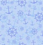 Naadloos patroon met ankers en wielen Vector illustratieachtergrond Royalty-vrije Stock Afbeelding