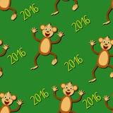 Naadloos patroon met apen en het jaar van 2016 Stock Afbeeldingen