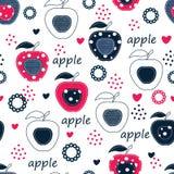 Naadloos patroon met appelen Stock Afbeeldingen