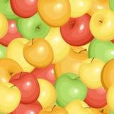 Naadloos patroon met appelen. Vector EPS 8. Stock Foto's