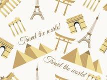 Naadloos patroon met architecturale monumenten van verschillende landen Vector illustratie Stock Foto