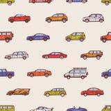 Naadloos patroon met auto's van diverse types - cabriolet, sedan, bestelwagen, vijfdeursauto, minivan SUV, Achtergrond met royalty-vrije illustratie