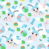 Naadloos patroon met babyjongen en speelgoed - vectorillustratie, eps royalty-vrije illustratie